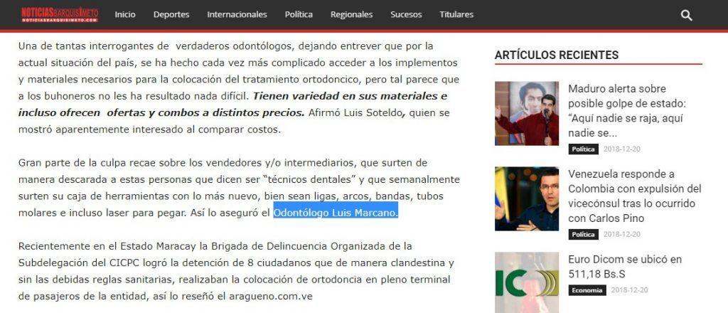Od. Luis Marcano en Noticias Barquisimeto