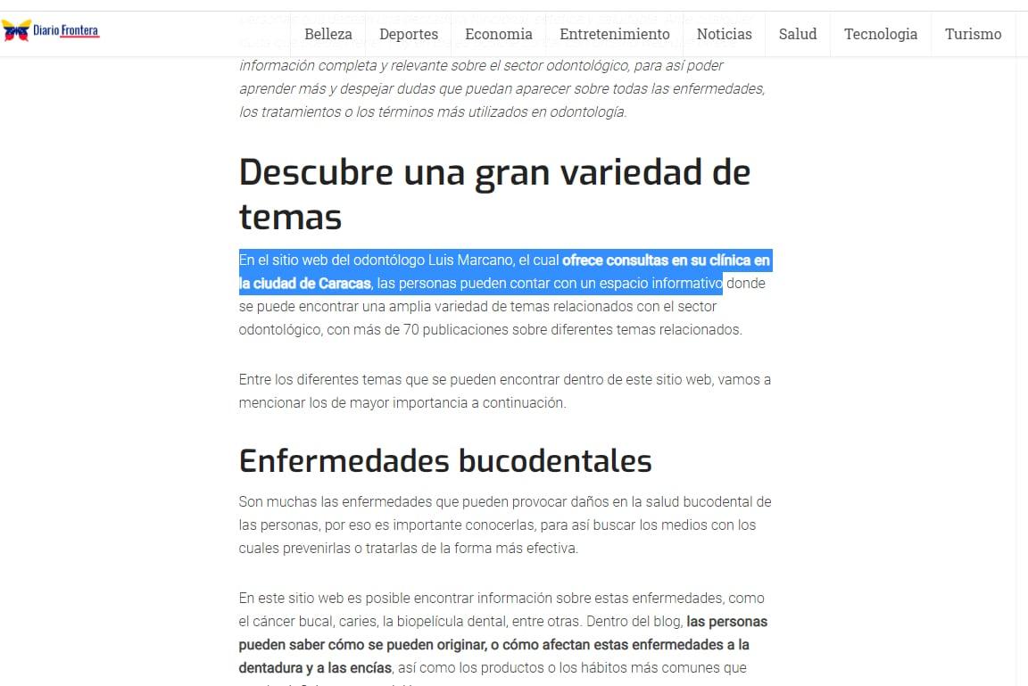 Diario Frontera - Odontólogo Luis Marcano
